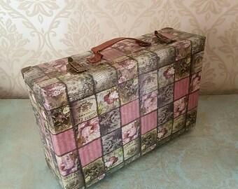 Ooak Unique Restored French Pink Rose Suitcase Luggage Handbag Storage Home Decor