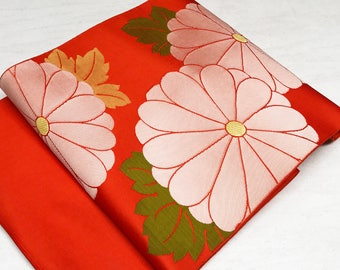 K52805 Beautiful Chrysanthemum Nagoya Obi Orange Kimono Belt Vintage