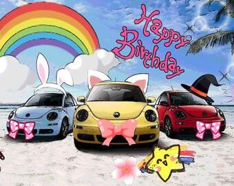 Volkswagen Beetle Birthday Card Printable