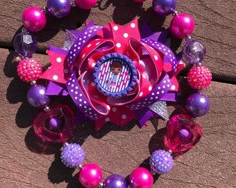 Doc mcstuffins bow and necklace set Doc mcstuffins bow Doc mcstuffins necklace Doc mcstuffins birthday party