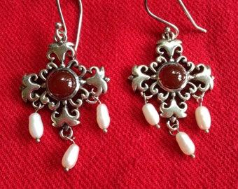 Carnelian and Pearl Sterling Silver Earrings