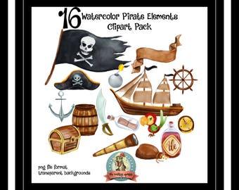 Pirate Clipart, Nautical Clipart, Nautical Clip Art, Clip Art Commercial Use, Digital Clipart, Digital Clip Art, Clipart, Clip Art, Instant