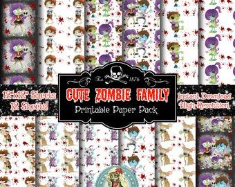 Zombie Party, ZOMBIE DIGITAL PAPER, Zombie Scrapbook Paper, Digital Paper, Digital Paper Pack, Zombie Birthday, Zombies, Zombies Ate My