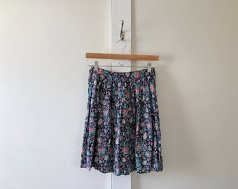 1980's ILGWU Made in USA Floral Above-Knee Skirt