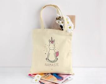 Tote Bag Unicorn Namaste, Yoga, Unicorn, tote bag, beige, nature