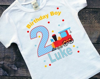 Train Birthday Tee Shirt or Bodysuit; Boys Birthday Shirt; Bodysuit and Tee's;FREE Personalization