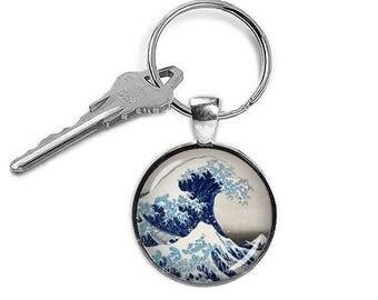 Hokusai Keychain The Great Wave Keyfob Hokusai Keyring The Great Wave off Kanagawa
