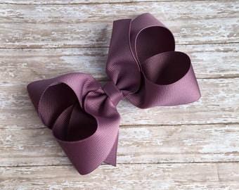 Eggplant Boutique hair bow, hair bows, solid color hair bows, large hair bows, Thanksgiving hair bows, plum hair bow, boutique bows