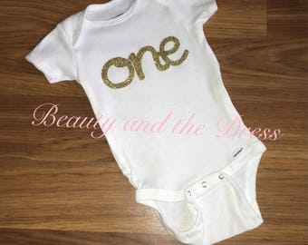 Ready to ship, one onesie, gold glitter onesie, first birthday onesie, cake smash onesie, first birthday,