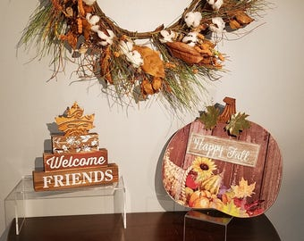 Fall thanksgiving wood sign home decor.  'welcome friends' table top