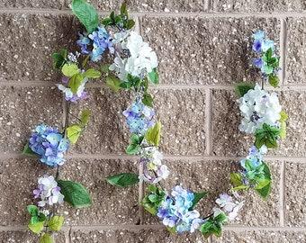 """ESE Hydrangea Garland, 72""""   Pink/white, purple/blue"""