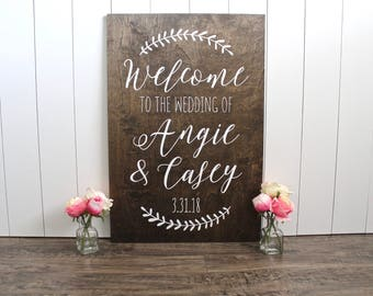 Wood Wedding Welcome Sign - Rustic Wood Wedding Signs - Welcome To Our Wedding Sign - Customized Wedding Signs - Woodsy Wedding