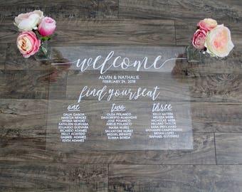 Acrylic Seating Chart - Vintage Wedding Decor - Welcome To Our Wedding Sign - Acrylic Wedding Sign