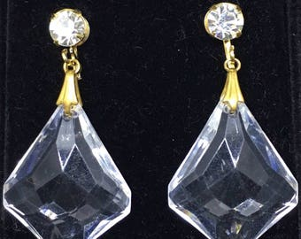 Vintage 1950/60s Rhinestone and Lucite Drop Earrings - converted from clip on to pierced