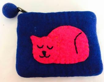 Cat zipper  medium coun purse