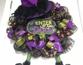 Enter If You Dare Witch Wreath/ Witch Wreath/ Halloween Wreath / Mesh Wreath / Halloween Mesh Wreath