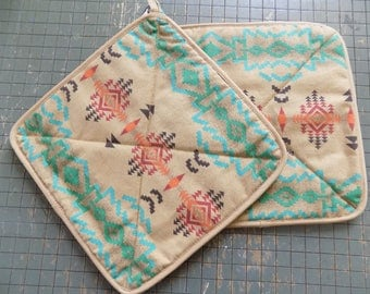 Mexican Tribal Pattern Hot Pad Set