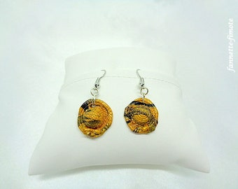 """Earrings Fimo """"Hats"""" black and gold - handmade"""