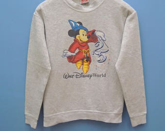Vintage Mickey Mouse Sweatshirt Pull Over Crewneck Cartoon Sweater Funny