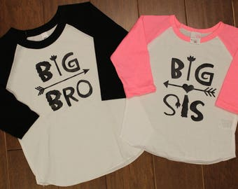 Big Bro Shirt, Big Sis Shirt, New baby, Pregnancy Announcement, Big Sis Big Bro Shirt Set,