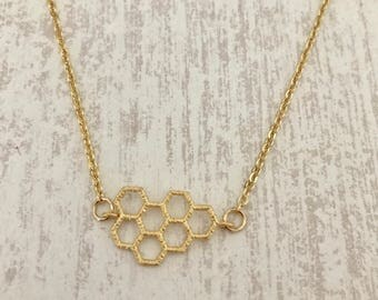 Gold Honeycomb Necklace // Handmade Jewelry // Dainty Chain // Gold Charm