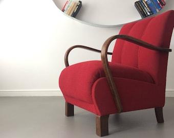 Vintage Retro Design Red Art Deco Bentwood Armchair by Thonet Jindrich Halabla