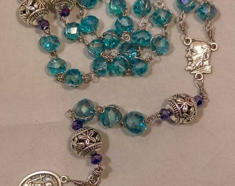 Unbreakable rosary, St. Padre Pio, St. Alphonse Ligouri medal - Handmade