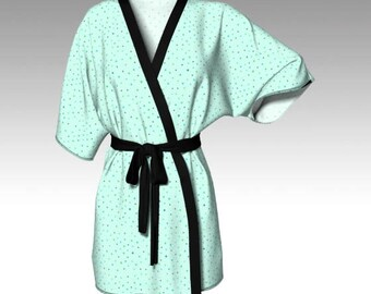 Kimono Robe, Draped Kimono, Dressing Gown, Blue Robe, Beach Coverup, Bridesmaids Robes, Lounge Wear, Swimsuit Coverup, Womens Clothing, Gift