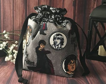 Drawstring Project Bag, Knitting Bag, Sock Project Bag, Small Project Bag Project Bag, Yarn Bag - Harry Potter Grab n' Go Project Bag