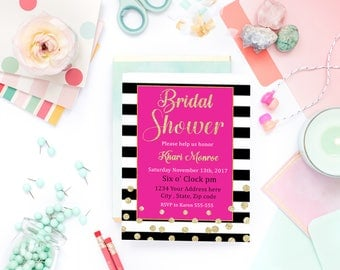 Kate Spade Invitation, Bridal Shower, Printable, Spade Party, Pink and Gold, Quote, Glitter, Wall art,wall decor, Party Decor,Table Signs