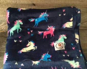 Very soft Navy Blue Unicorn plush minky fabric blanket pink heart Valentine