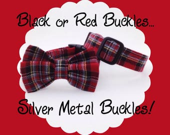 Plain Red Plaid Dog or Puppy Collar