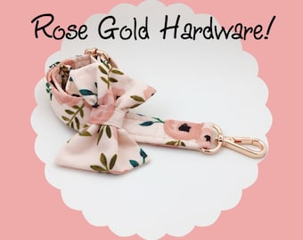 ROSE GOLD + Pink Coral Watercolor Floral & Bow Dog or Puppy Leash