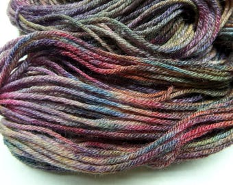 Multi-Color and Taupe Yarn, 2 Hand Dyed Mini-Skein: Warm Colors, Sock Yarn, Bamboo, Wool, Nylon, Hand Painted Yarn, Beige, All the Colors.