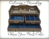 Custom Hand Painted  Mens Jewelry Box, Vintage Valet Box, Personalized, Father's Day Gift For Husband, Boyfriend, Desk Tray, Mens Organizer