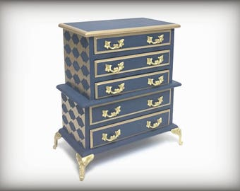 Navy & Gold Music Box, Vintage Jewelry Box, Gift For Wife, Gift For Bride, Hand Painted Jewelry Chest, OOAK Navy Blue Jewelry Box