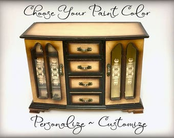 Large Custom Jewelry Armoire, Vintage Hand Painted Jewelry Box,