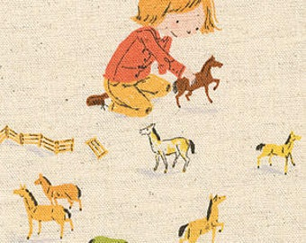 LAST FQ, Far Far Away III, Pony Play, Cream, by Heather Ross, for, Kokka, Fat Quarter, top, htf, children fabric, canvas