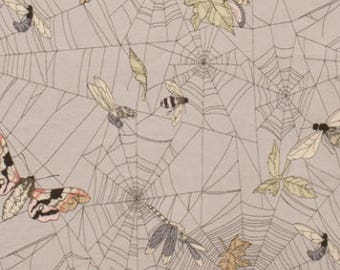 7835FR A GHASTLIE WEB LIGHT Grey - The Ghastlies Web, Alexander Henry, Quilt Fabric, De Leon Designs, Spider Webs, Halloween, Pink Moths