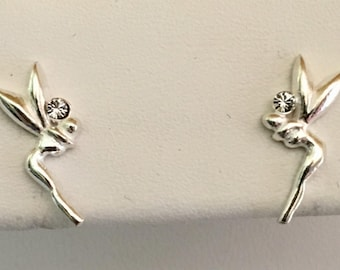 Sterling Silver Fairy with Crystal Earrings