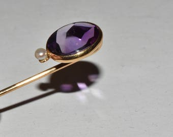 Vintage Antique 14k Gold Amethyst Pearl Stick Pin Victorian Feburary Birthstone