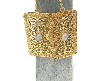 Moonstone earrings, brass drop earrings, Gypsy earrings, boho earrings,  gold drop earrings, Ethnic Jewelry, Indian jewellery