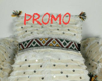 COUPON 2 seat covers for cushions handira white sequins