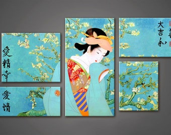 Geisha Art, Sakura, Japanese Painting , Art Print on Canvas,Extra Large Wall Art , Canvas Art, Living Room Flower Picture, 5 piece wall art