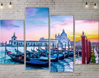 4 piece wall art, Extra Large Art, Seascape, Boats, Canvas Art, Interior Art, Living Room Decor, Large Print Wall Art , Art Print on Canvas