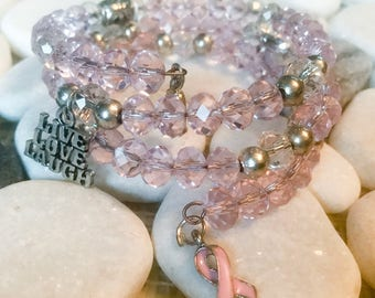 Breast Cancer Awareness Wrap Bracelet