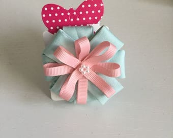 Pink & blue flower style ribbon hair clip