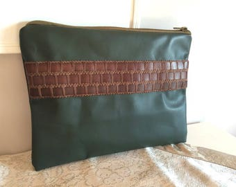 Khaki leather and gallon brown leather pouch