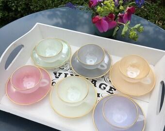 Arcopal coffee set - vintage pastel tea set - vintage pastel coffee cups
