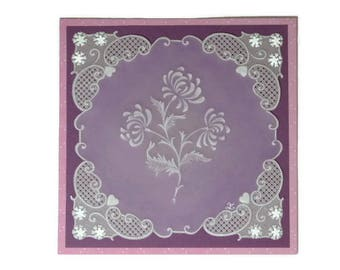 "Pergamano card ""A touch of femininity"" lace paper"